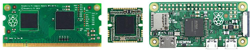 左から、Raspberry piのモジュール版、Arducam製のラズパイクローン、Raspberry Pi Zero
